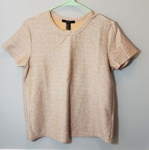 Rose Gold Forever 21 Sparkly Short Sleeve T-shirt